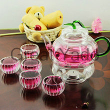 1 pumpkin shape glass teapot 600ml+6 double wall tea cups +1 heating base 8pcs/set free shipping