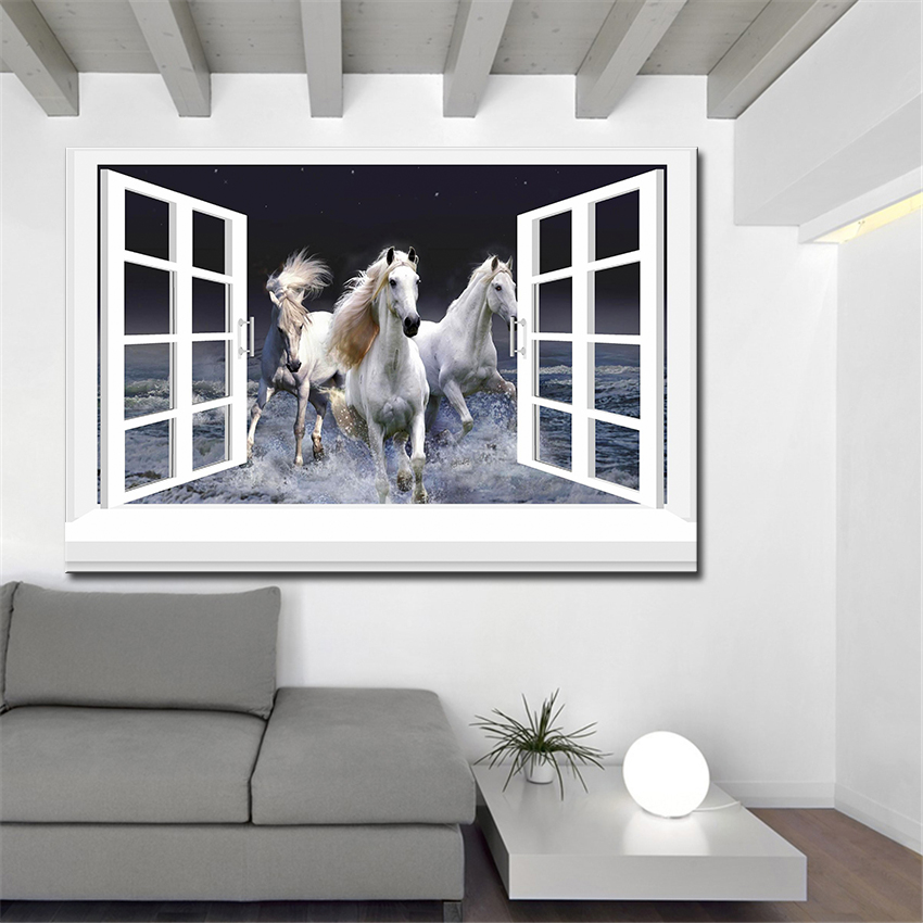 3d effective windows horse Wall Painting pictures Home Decorative Art Picture Paint on Canvas Prints wall painting no framed(China (Mainland))