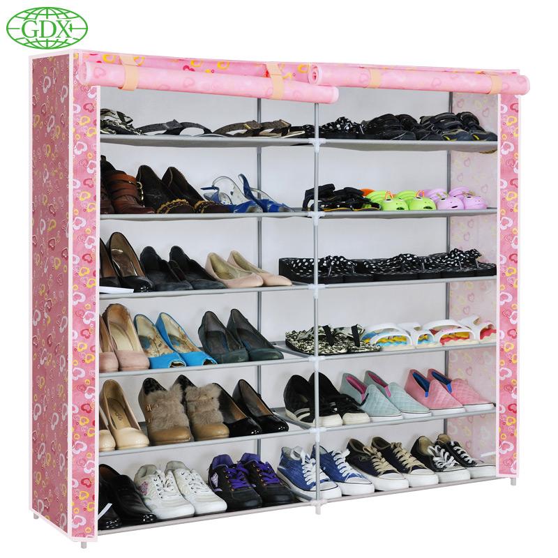 GDX 4pcs in 1 Lot New 2 Row 6 Tiers 12 Cubes 36 Pair Large Capacity Simple DIY Shoe Cabinet Boot Closet Rack Footwear Shelf(China (Mainland))