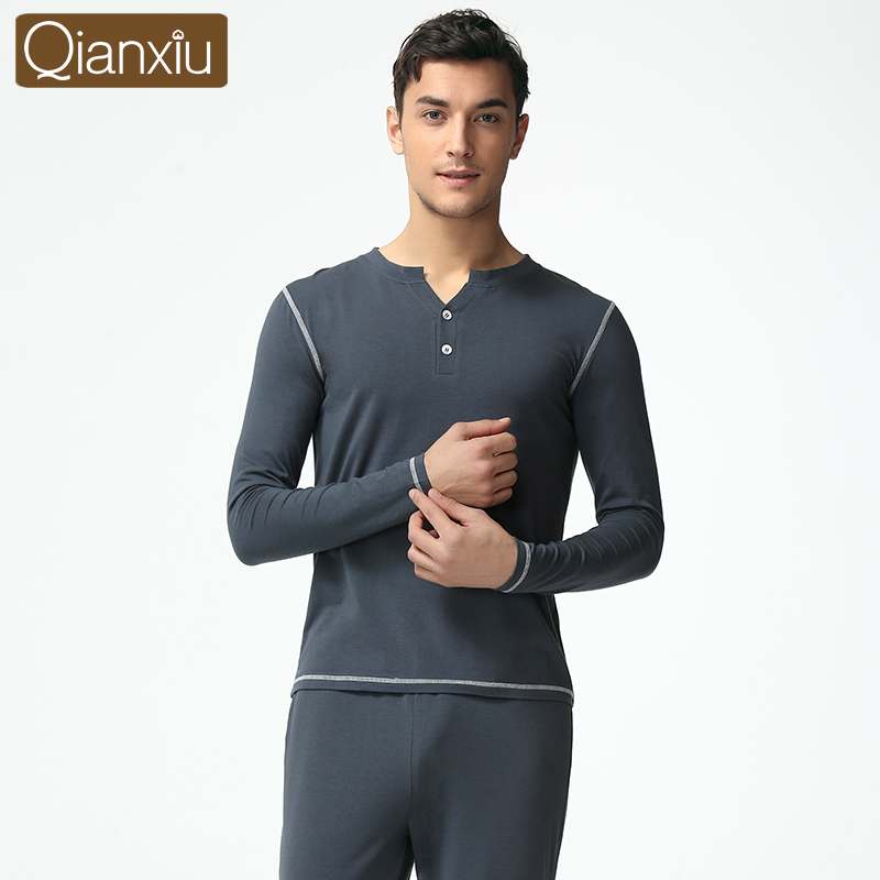 Qianxiu  spring new solid color fashion casual V-neck long-sleeved underwear male stitching leisure suit pajamas for menОдежда и ак�е��уары<br><br><br>Aliexpress