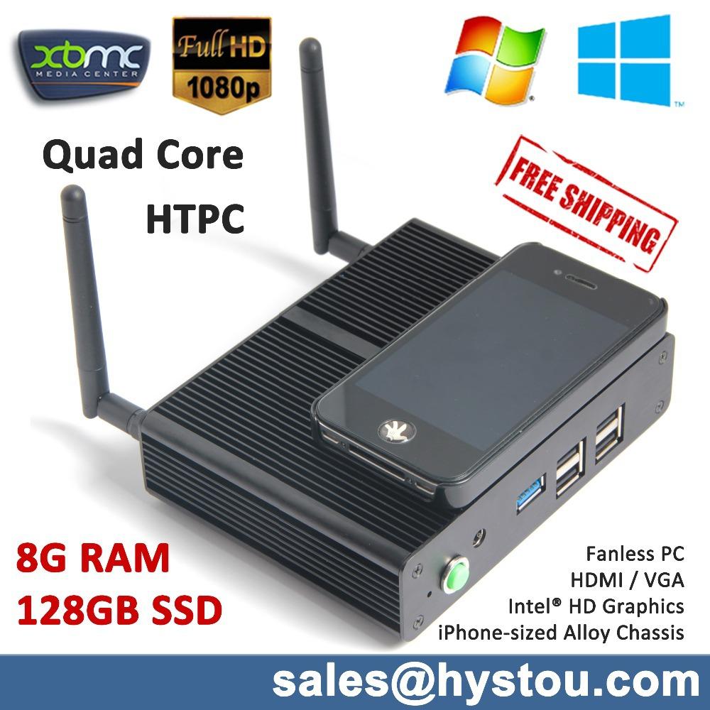 Full Aluminum Alloy Case Mobile sized PC VGA+HDMI Portable Host Mini Computer 8GB DDR3 Ram 128GB SSD Quad Core 2M Cache Max 2GHz(China (Mainland))