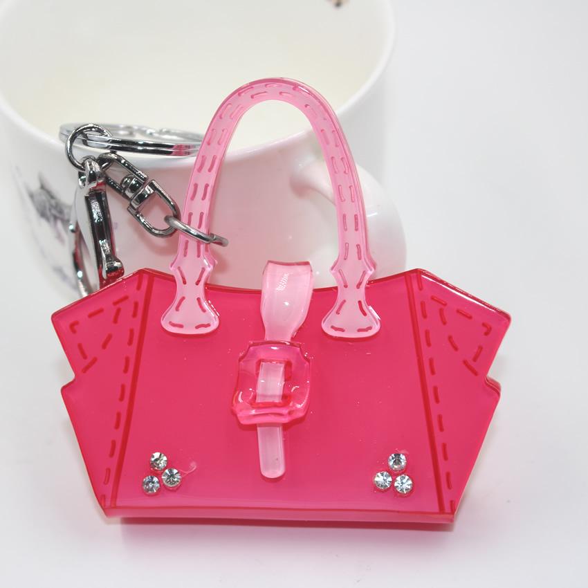 2015 flowers crystal bag fashion modeling acrylic make Copper plating car key chain women keyring bag pendant jordan keychain(China (Mainland))