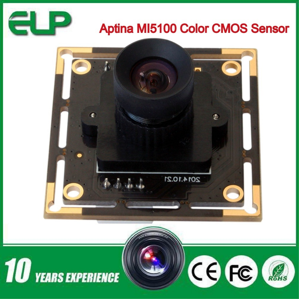 Фотография ELP 5megapixel Micro digital Aptina MI5100 USB 5MP hd Webcam High Speed Usb 2.0 CCTV Usb camera Board with 6mm lens