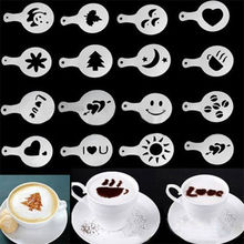 DealsOcean 16Pcs  Mold Coffee Milk Cake Cupcake Stencil Template Coffee Barista Cappuccino Template Strew Pad Duster Spray Tools(China (Mainland))