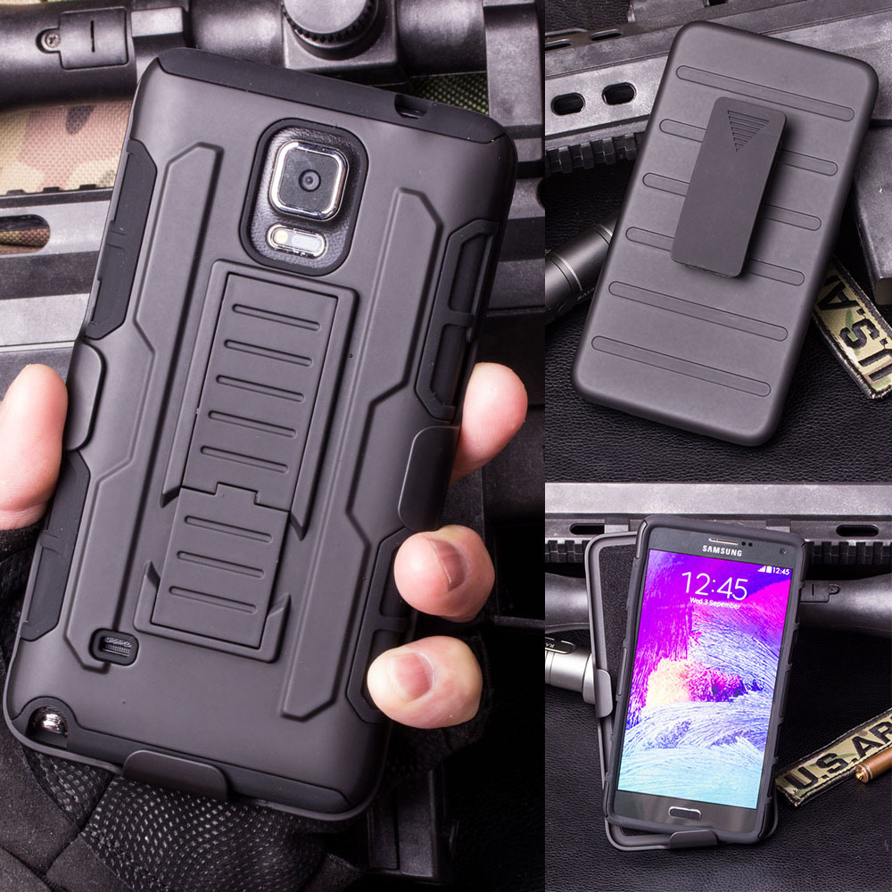 Future Armor Impact Holster Hybrid Hard Case For Samsung Galaxy Note 4 N9100 N910 Cell Phone Protective Cover Cases + Gift(China (Mainland))