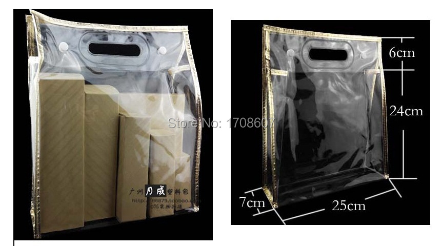 Free Shipping 25*7*24cm Clear pvc see through bags with zipper and pvc tote bag handles on top wholesale(China (Mainland))