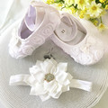 Kids little flowers Shoes for Girl Princess Lace Headband Cute Infant Girl Toddler Shoes Set Newborn
