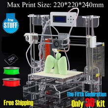 2016 New Big Acrylic Frame Reprap Prusa I3 DIY 3D Printer 3 D impressora KIT Machine with 2rolls filament LCD Screen 8G SD Card