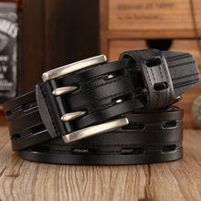 brand new fashion leather belt men high quality designer belts women double needle buckle soft waist strap jeans size 125(China)