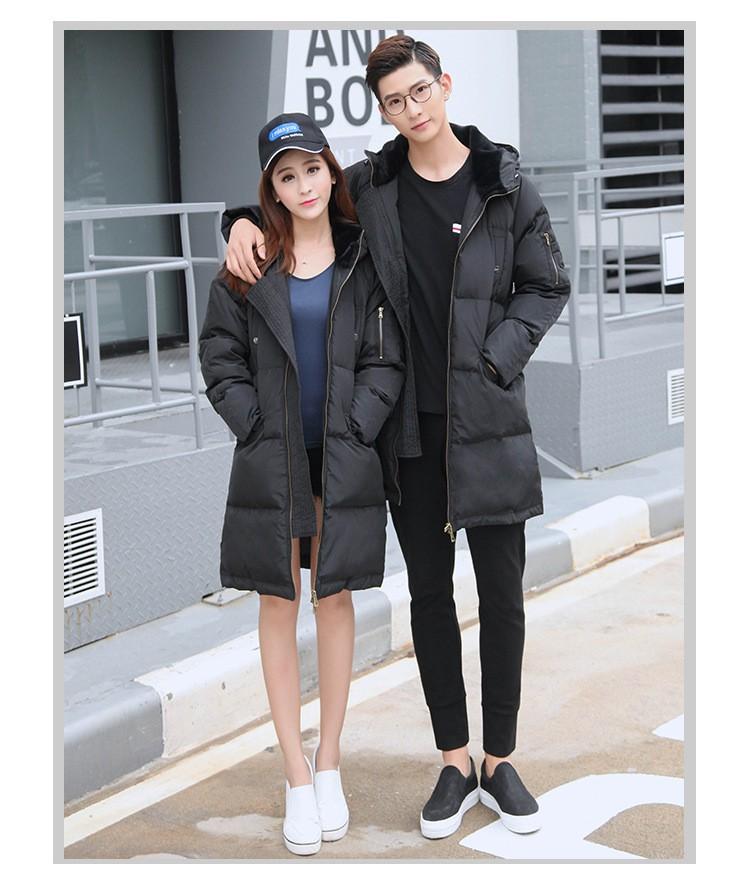 Winter 2017 Fashion Couples Hooded Casual Coat Down Down Jacket Loose Big yards Black Thicken Warm Medium long Women Coat G0260