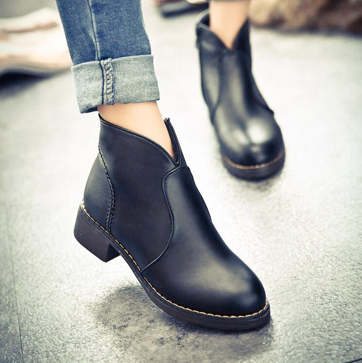 Women Boots 2015 Autumn Winter Flat Shoes Woman Round Toe Pu Leather Slip Motorcycle Ankle Boot Bota - SAR store