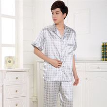 Summer Men's Silk Short Sleeve Pajama Suit Noble Silk Pajamas Pyjamas Sleep Lounge Clothing for home D10(China (Mainland))