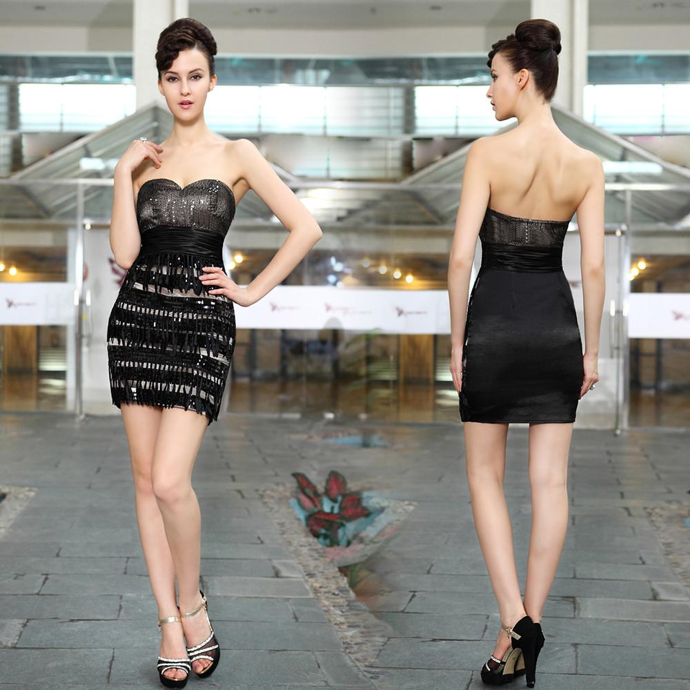 HE03799BK 2013 New Fashin Slim Bag Hips Strapless Ruched Waist Fringe Sequined Little Black Party Dress(China (Mainland))