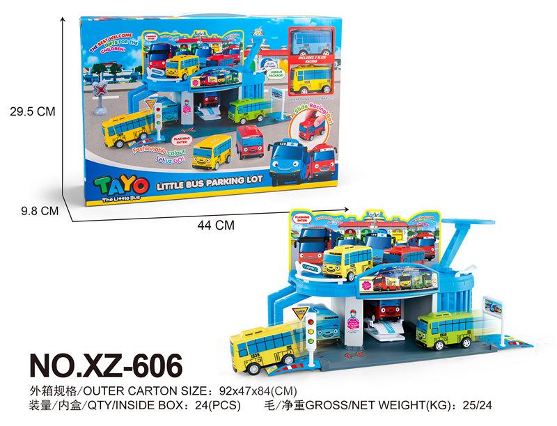 New Tayo the little bus set korean anime model shopping mall mart garage with 2 mini cars for kids oyuncak gift xz-606(China (Mainland))