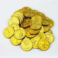 100Pcs Plastic Gold Silver Treasure Coins Captain Pirate Party Favors Pretend Treasure Chest Kids Party Supplies(China (Mainland))