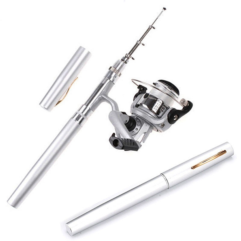 POINT BREAK High-quality 1 Meter Stainless Fishing Rod Mini Portable Fishing Rod Spinning Wheel Portable Pen Rod Fast Transport(China (Mainland))