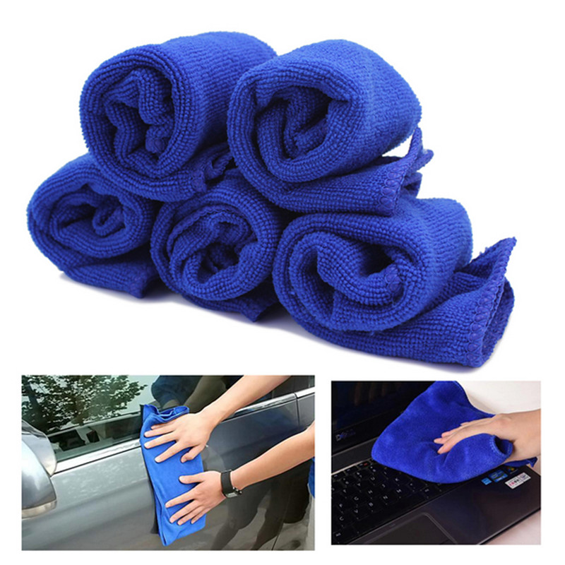 5pcs/Lot New Blue Soft Microfiber Cloth Cleaning Auto Car Detailing Polishing Wash Cloths Duster Home Kitchen Towels 28*28cm(China (Mainland))