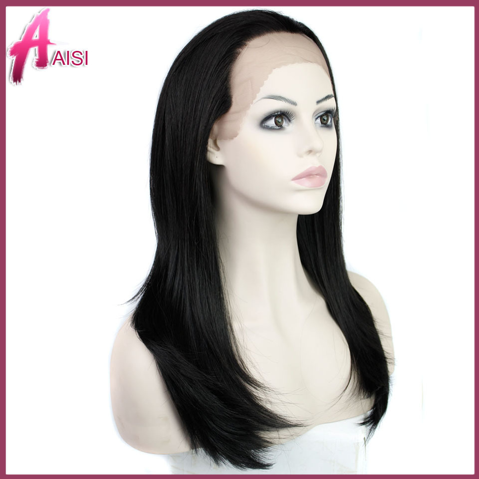 Гаджет  Free shipping black #2 body wave synthetic lace front wigs heat resistant glueless lace wig women None Волосы и аксессуары