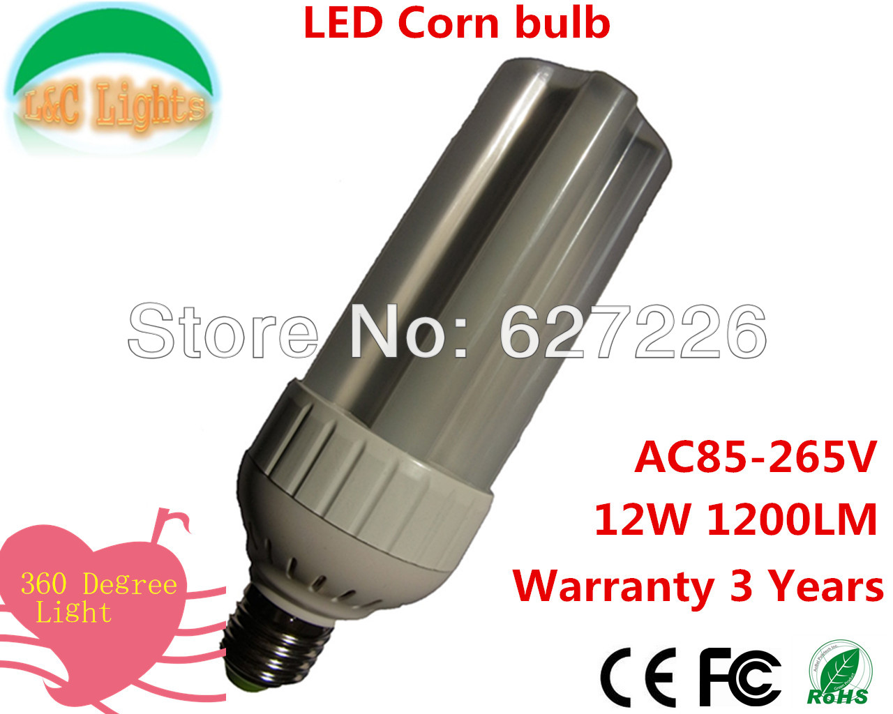 Hot selling 120 leds SMD 3014 E27 LED AC85-265V 12W LED bulb lamp ,Warm white/white LED Corn Bulb Light,waterproof,10Pcs a Lot<br><br>Aliexpress