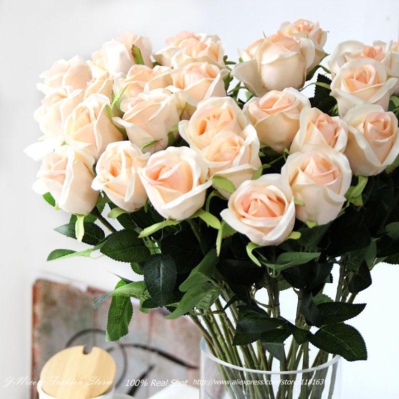 Cheap Artificial Silk Rose Decorative Flowers Fake Floral Wedding Bridal Bouquet Home Decoration Party Arrangement(China (Mainland))