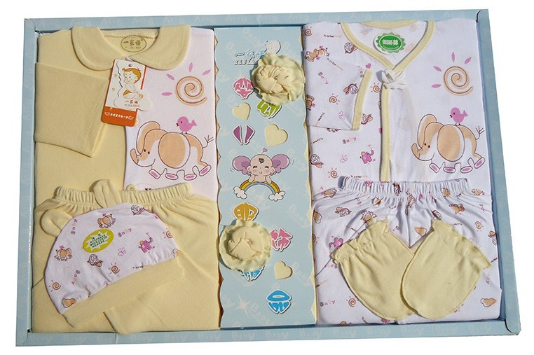 Infant baby newborn gift set top trousers gloves socks hat gift box