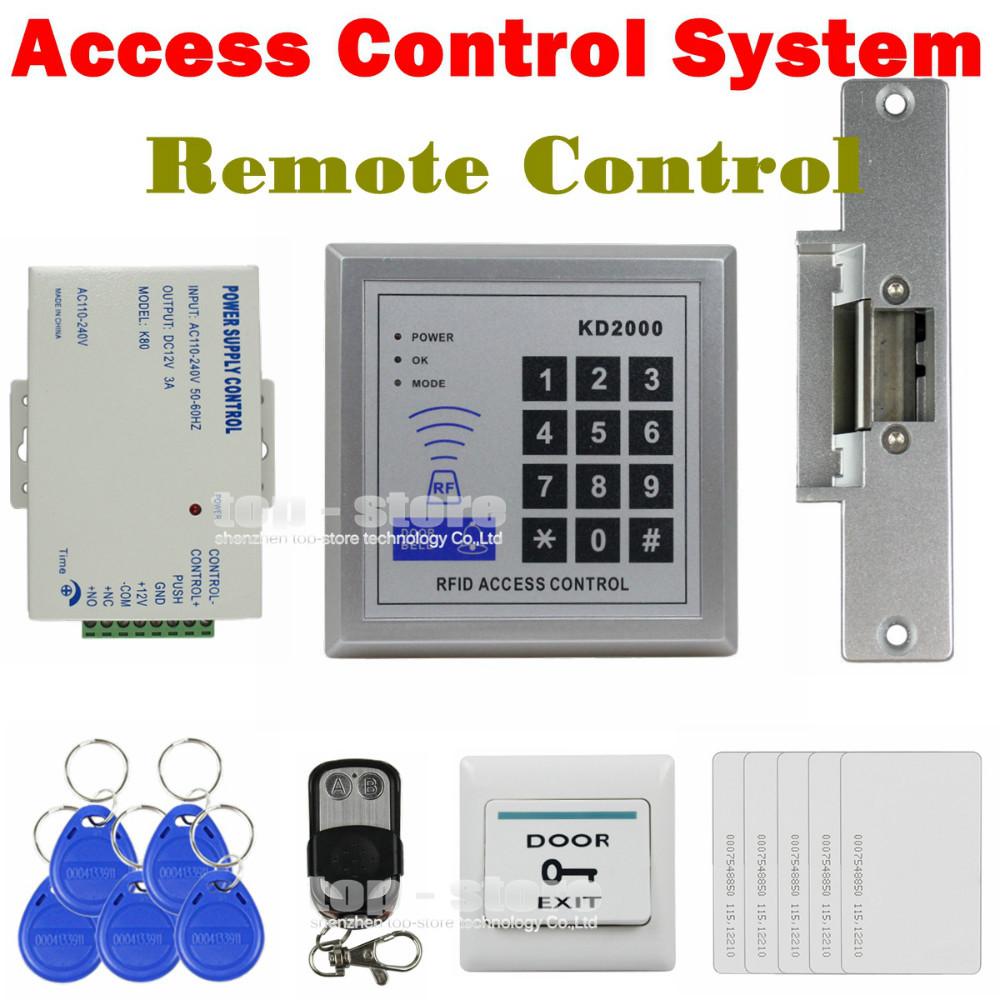 DIY Full Kit Set 125KHz RFID Keypad Access Control System Security Kit + Electric Strike Lock KD2000(China (Mainland))