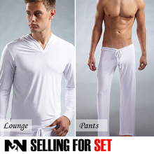 N2N Male Sleep & Lounge Pants Briefs Set Silk Soft Sexy Summer 4 Color Bodywear (5 piece/lot)(China (Mainland))