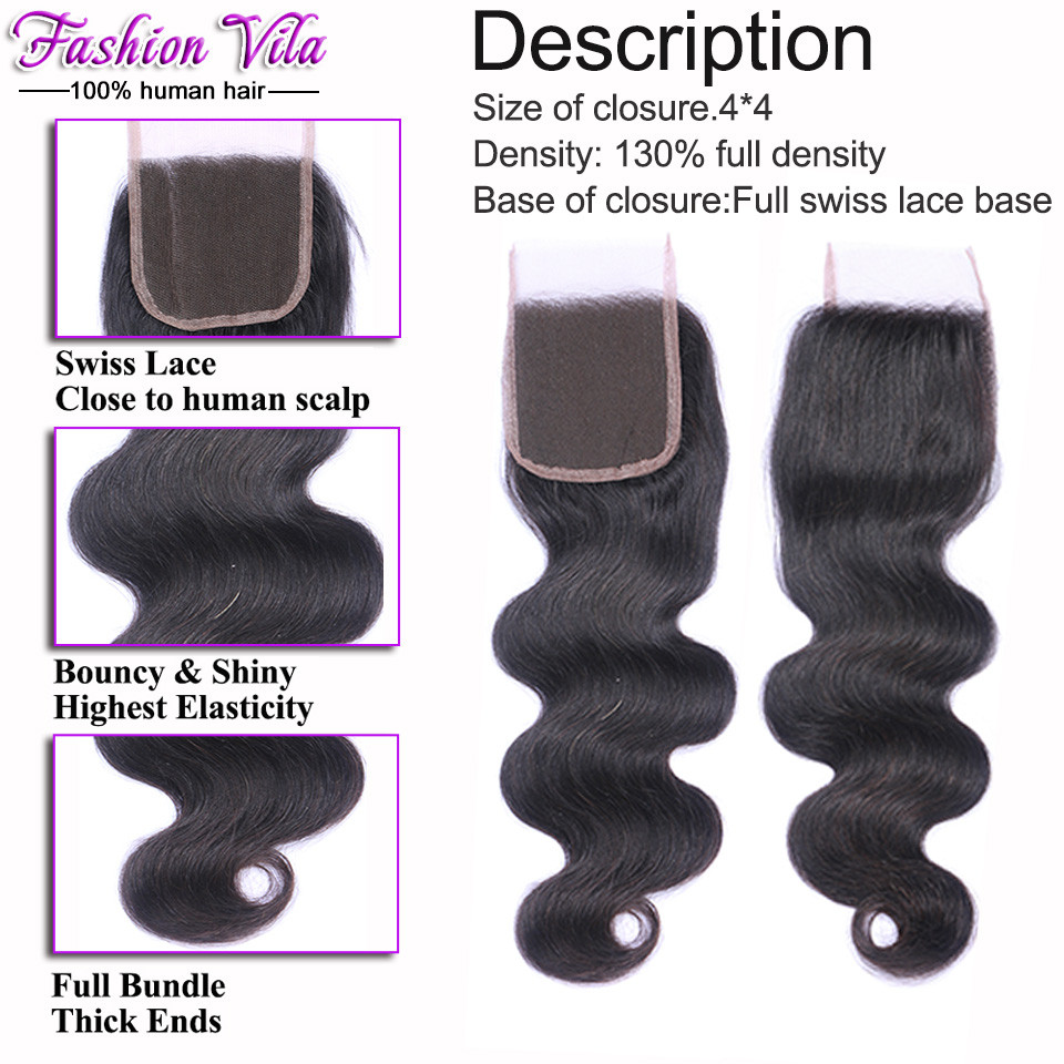 Fashion Vila Brazilian Body Wave With Closure Brazilian Virgin Hair With Closure Cheap Human Hair 3 Bundles With Lace Closures