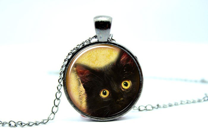 1PCS Cat Necklace, Cute Halloween Jewelry, Black Kitty Pendant Glass Cabochon Necklace vision 2(China (Mainland))