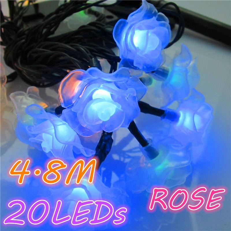 Rose LED String Solar Fariy light 4.8M 20LED Outdoor Indoor Party Christmas/New Year/Birthday/Wedding Decoration Romantic Lamp(China (Mainland))