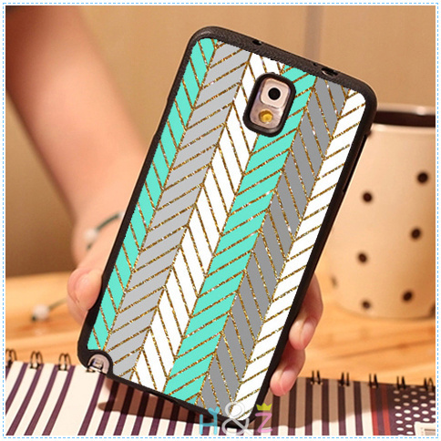 Blue And White Glitter Chevron Custom Solf Mobile Phone Cases For Samsung galaxy S3 S4 S5 Note 2 Note 3 Note 4 Case Cover Brand(China (Mainland))