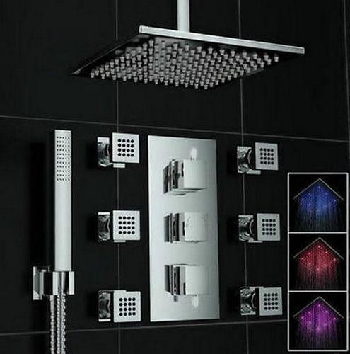 USW LED Bathroom Thermostatic Mixer 12'' Shower Head Handheld Massage Jet Shower Set Faucets(China (Mainland))