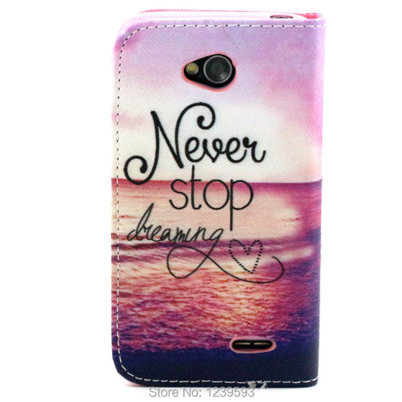 Never stop dreaming Ocean PU Leather Case For LG Optimus L70 D325 MS323 Exceed II 2 One Piece(China (Mainland))