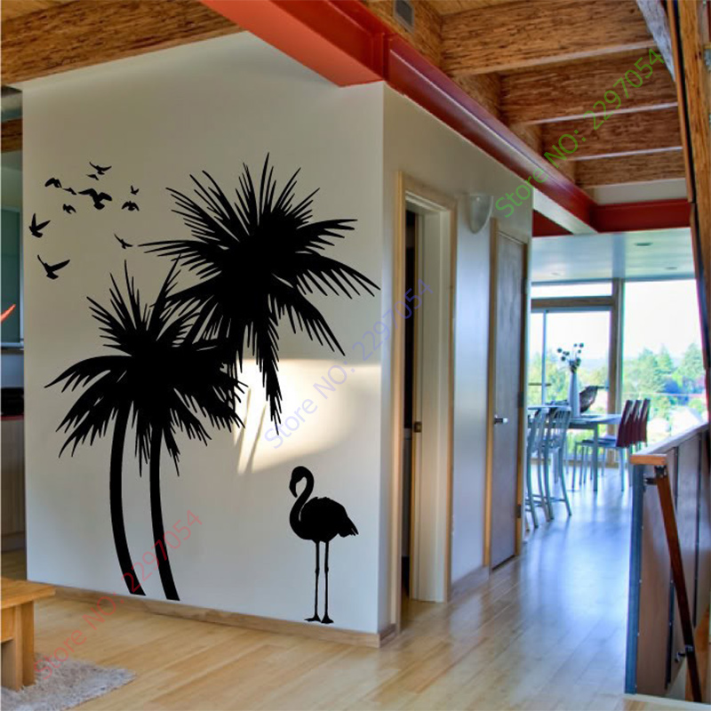 Hot Sale Large Palm trees Bird adhesive Vinly Wall Decal Art Mural Wall Sticker Home Decor(China (Mainland))