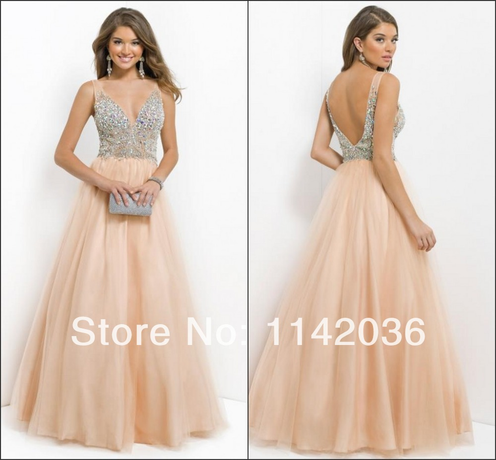 robe de soiree 2015 new blush long sequin beaded sexy cheap v neck prom dresses party dresses. Black Bedroom Furniture Sets. Home Design Ideas