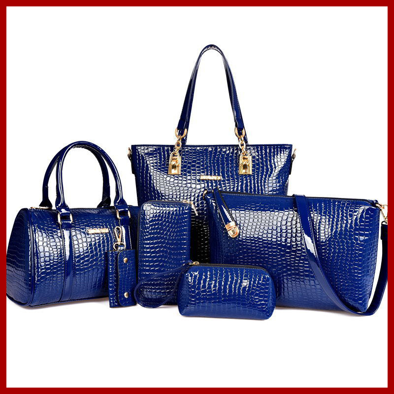 New 2015 Hot Sale Desigual Women Fashion Alligator Handbag Clutch Bolsas Messenger Bags Genuine Patent Leather 6 Pieces One Set(China (Mainland))