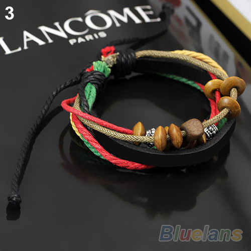 1pcs Womens Mens Wrap Multilayer Genuine Leather Rope Bracelet Chain With Charms 04QH 2BCB