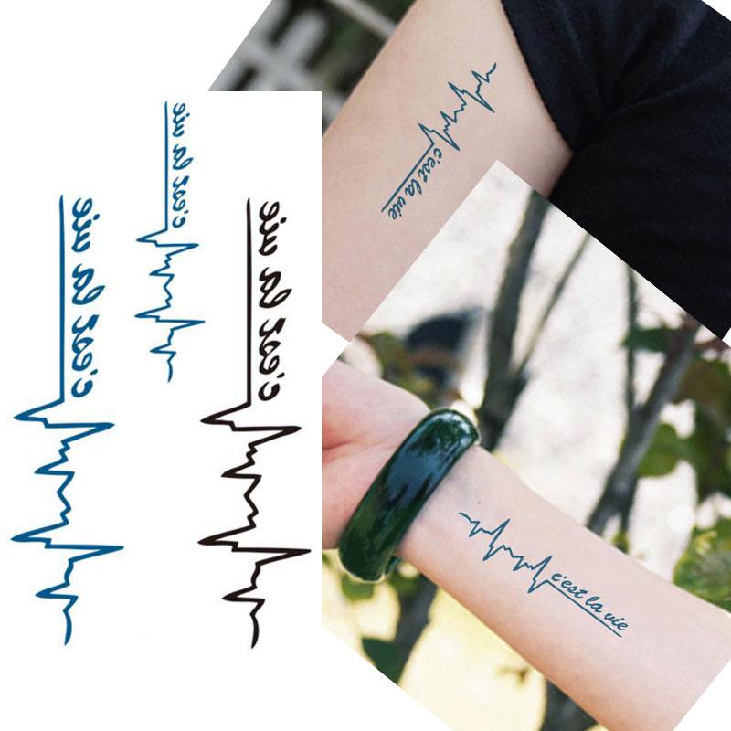 5PCS Cool Blue Black ECG Designs Waterproof Body Arm Art Temporary Tattoo Sticker Fashion Makeup Fake Tattoo Sleeves Paste Tips(China (Mainland))