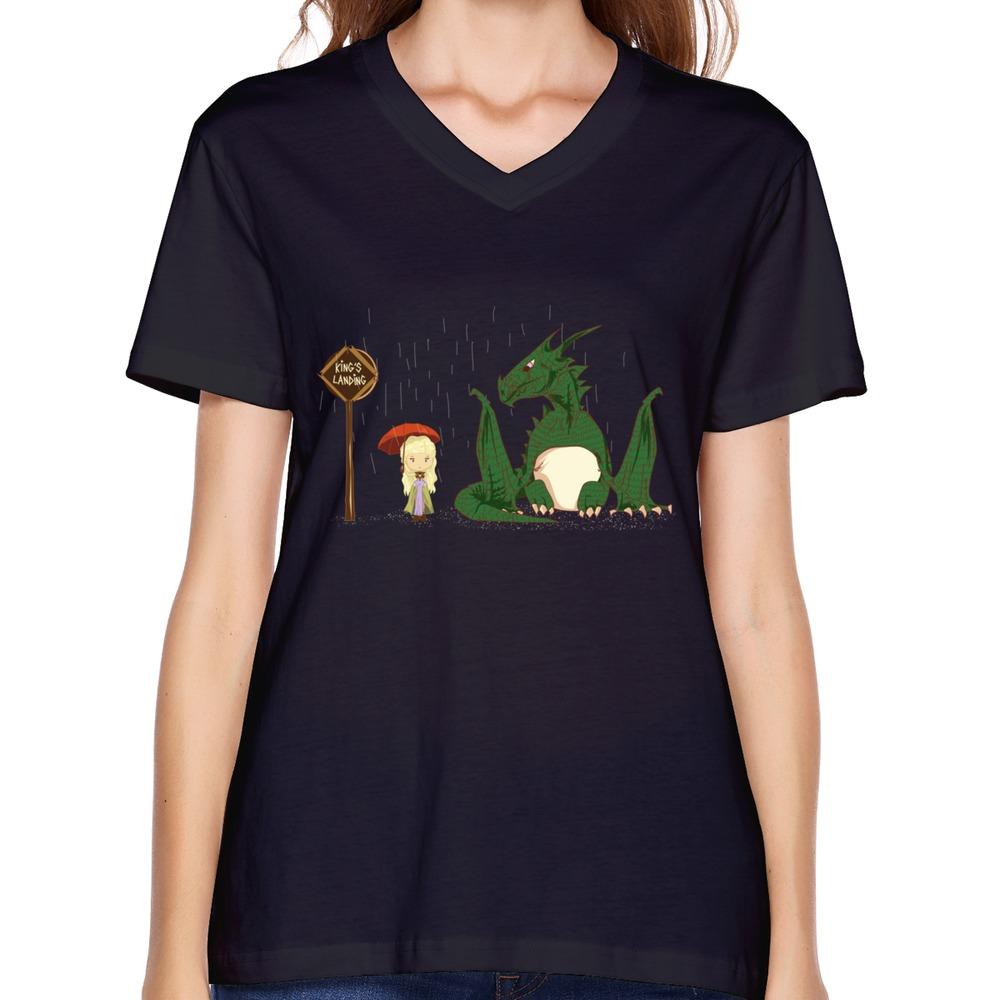 Custom 100 cotton short sleeve v neck khaleesi game of for Custom t shirts under 10