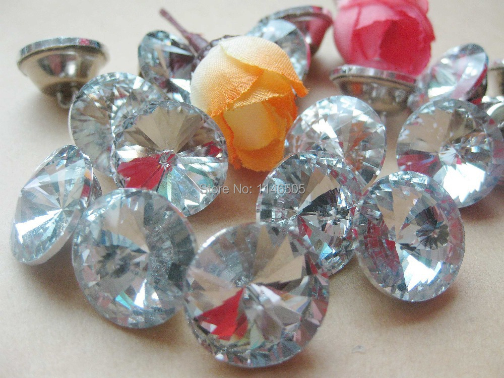 18mm 60pcs Gem Flower Faceted transparent Crystal rhinestone button trim Sewing Diamond Buttons Scrapbooking Accessories craft(China (Mainland))