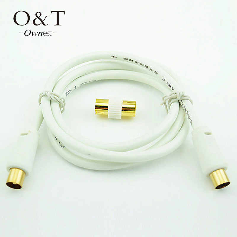 OWNEST 1m 1.5m 3m 5m RF Fly Lead Coaxial Aerial Cable Digital TV Male to M Extension GOLD- White(China (Mainland))