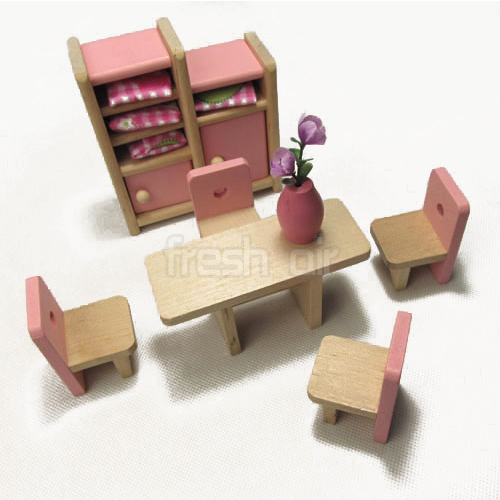 Pink Wooden Dolls House Furniture Miniature 6 Room Set 4