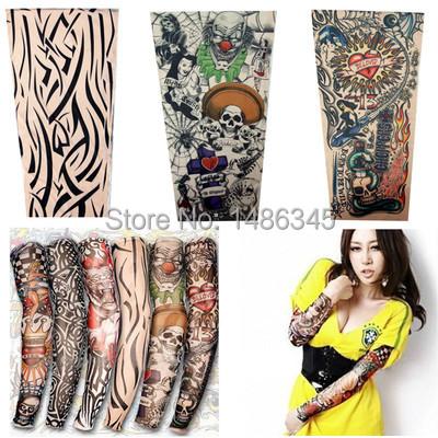 New 4pcs nylon stretchy temporary tattoo sleeves Long Arm Sleeves Kit Punk Fake Crown Tattoos Sleeve Arm Stockings Free Shipping(China (Mainland))