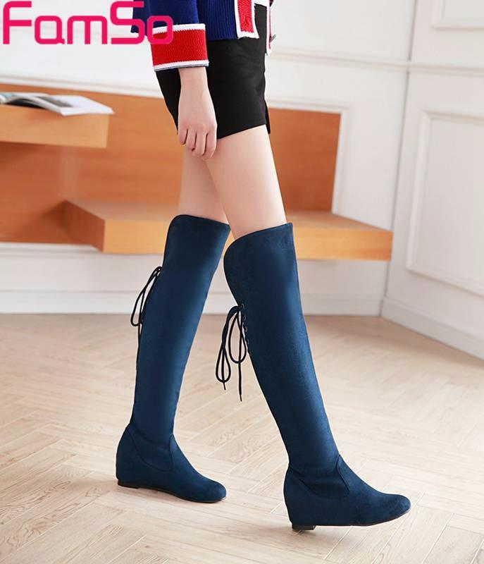 ซื้อ ขนาดบวก34-43 2016ใหม่เซ็กซี่ผู้หญิงบู๊ทส์สีดำสีฟ้าสีแดงขาสูงบู๊ทส์ออกแบบหญิงฤดูหนาวกว่าเข่าบู๊ทSBT4380