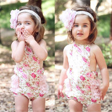 2015 One-pieces Baby Girls Lace Flower Romper Sunsuit Photo Outfits Newborn-5T(China (Mainland))