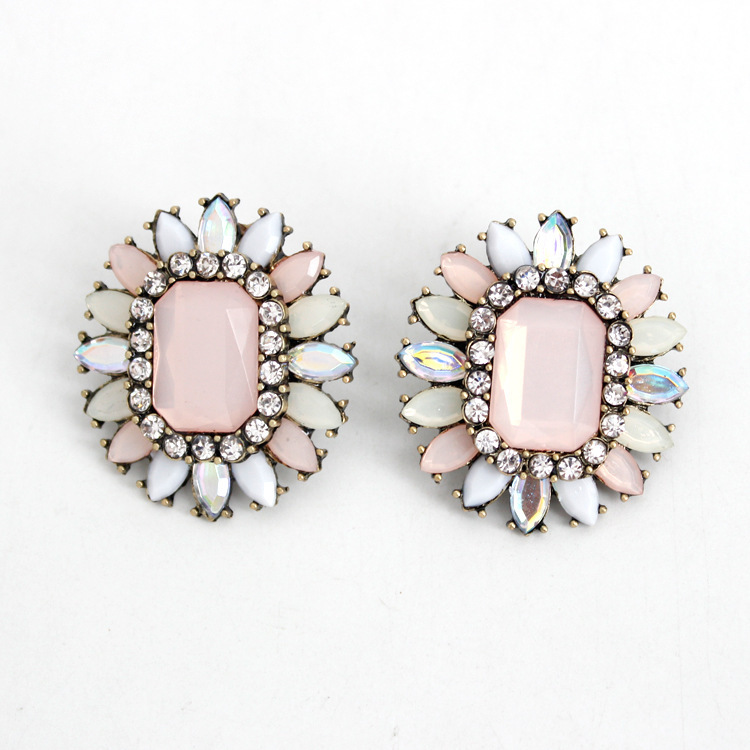 JC100 Fashion Statement Earrings Vintage Pink Rhinestone Stud Earrings For Women Boutique No Min Order Best Price(China (Mainland))
