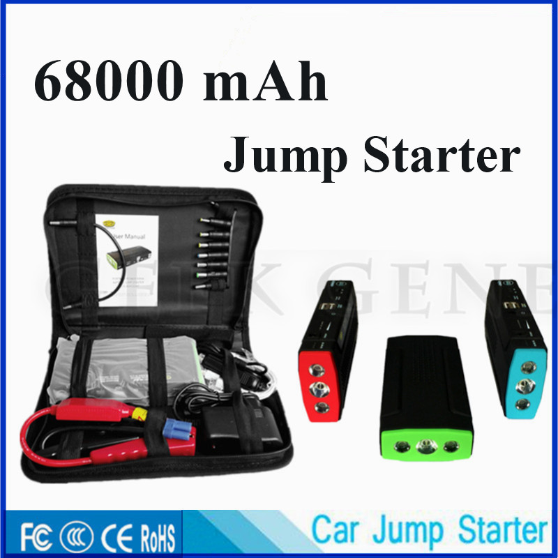 New Capacity 12V Diesel Petrol Car Jump Starter Portable 68000mAh Car Starting Device Mobile 2USB Power Bank SOS Light Free Ship(China (Mainland))