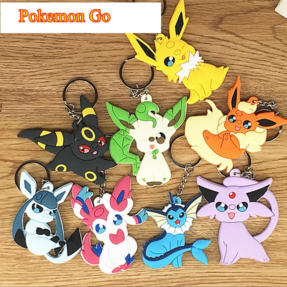 Pokemon Go PVC Key Chain Pikachu Eevee Vaporeon Jolteon Flareon Charizard Bulbasaur Squirtle Pendants  -  M-Fly store