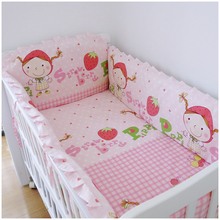 Promotion! 6PCS Strawberry girl Customize baby bed around set baby bedding set unpick and wash (bumper+sheet+pillow cover)