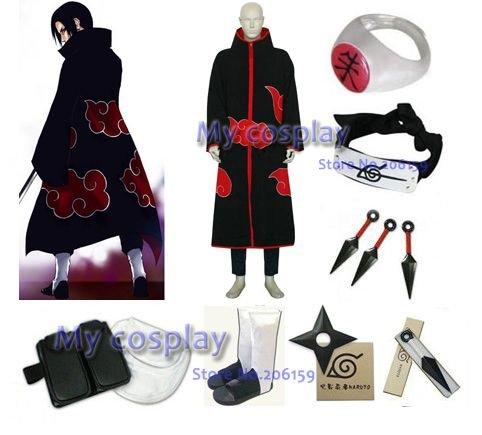 Naruto Akatsuki Itachi Uchiha Cosplay Costume With Accessorie Wholesale -- Free Shipping